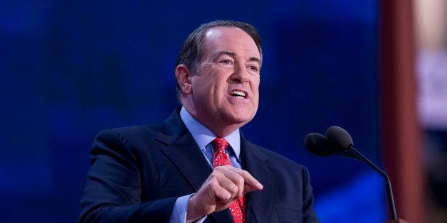 UNITED STATES - AUGUST 29:  Former Gov. Mike Huckabee, R-Ark., addresses the Republican National Convention in the Tampa Bay