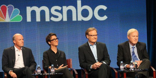 BEVERLY HILLS, CA - AUGUST 02:  (L-R) President of MSNBC Phil Griffin, host of 'The Rachel Maddow Show' Rachel Maddow, host o