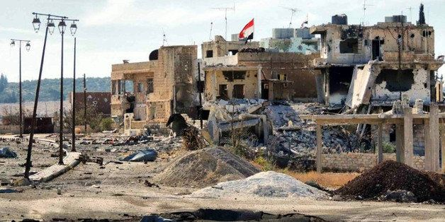 DARAA, SYRIA - OCTOBER 31: A wiev of the damaged houses in the southern Syrian city of Daraa on October 31, 2013. Free Syrian