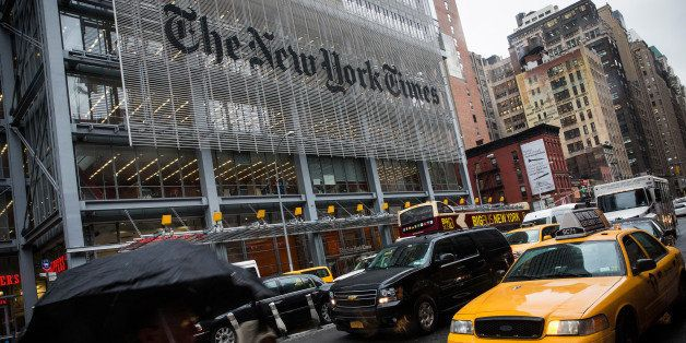 NEW YORK, NY - OCTOBER 01:  People walk past The New York Times building on October 1, 2014 in New York City. The Times annou