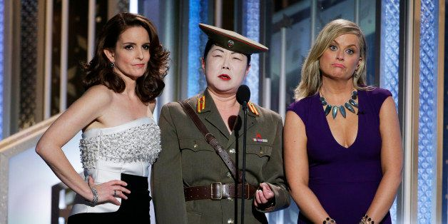 BEVERLY HILLS, CA - JANUARY 11:  In this handout photo provided by NBCUniversal, Tina Fey,  Margaret Cho and  Amy Poehler spe