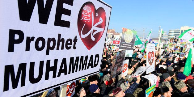 GROZNY - JANUARY 19 :  Chechen Muslims gather in downtown regional capital of Grozny during a protest rally on January 19, 20