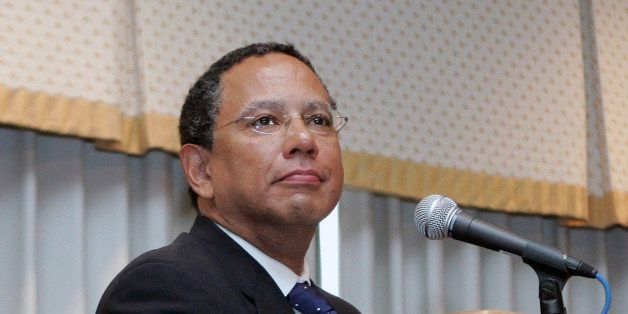 Los Angeles Times Editor Dean Baquet listens to a question after addressing the Associated Press Managing Editors conference