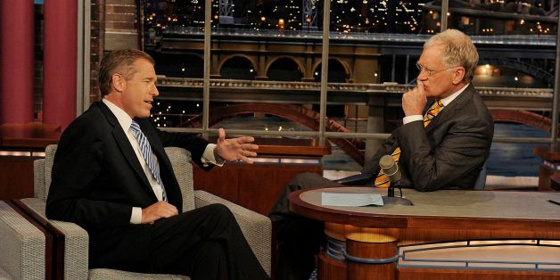 NEW YORK - MAY 2: Brian Williams and David Letterman talk about the killing of Osama Bin Laden on the LATE SHOW with DAVID LE