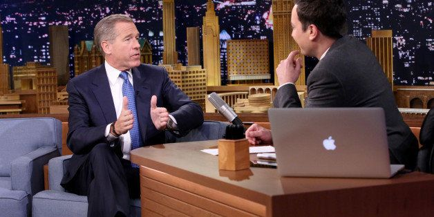 THE TONIGHT SHOW STARRING JIMMY FALLON -- Episode 0196 -- Pictured: (l-r) Journalist Brian Williams during an interview with