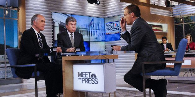 MEET THE PRESS -- Pictured: (l-r)  Sen. Bob Casey (D-PA,) Sen. Roy Blunt (R-MO) and moderator Chuck Todd appear on 'Meet the