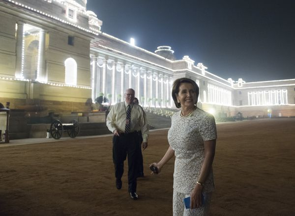 US House Democratic Leader Nancy Pelosi arrives for a State Dinner in honor of US President Barack Obama at Rashtrapati Bhawa