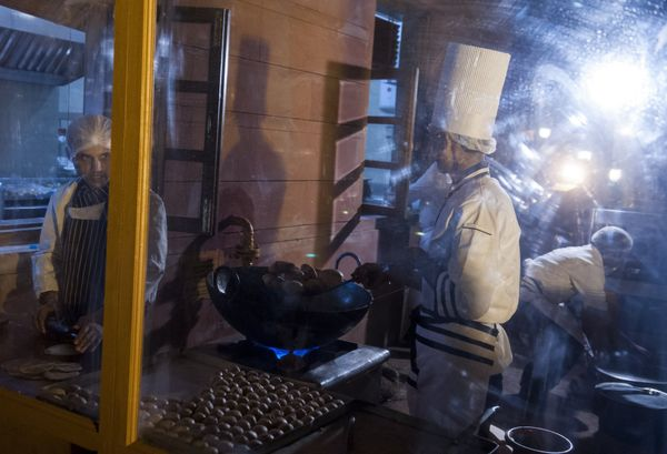 Chefs preparing food for a State Dinner in honor of US President Barack Obama at Rashtrapati Bhawan, the Presidential Palace,