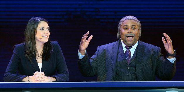 LAS VEGAS, NV - JANUARY 07:  'Saturday Night Live' cast members Cecily Strong (L) and Kenan Thompson as the Rev. Al Sharpton