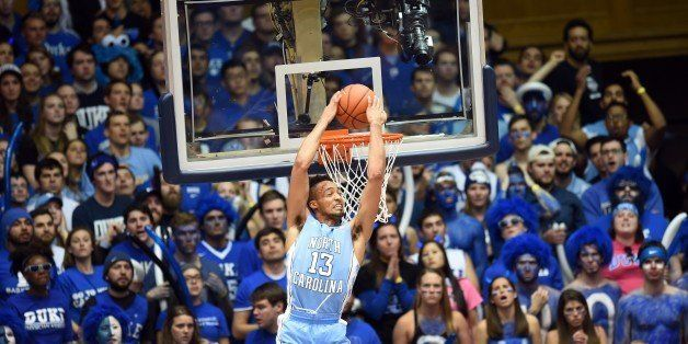 University of North Carolina player J.P. Tokoto does a reverse slam during the Duke game against the University of North Caro