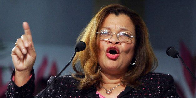 PHILADELPHIA -  JANUARY 8:  Dr. Alveda King, founder of King for America, Inc., gestures at the Justice Sunday III rally on J