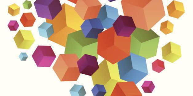 Abstract 3D cubes vector background, geometric design