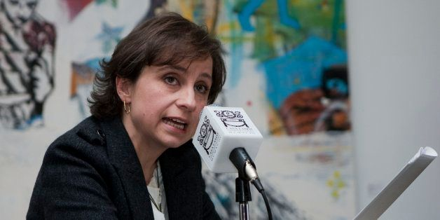 MEXICO CITY, MEXICO - FEBRUARY 08:  Journalist Carmen Aristegui speaks about her departure  from MVS Radio at Casa Lamm on Fe