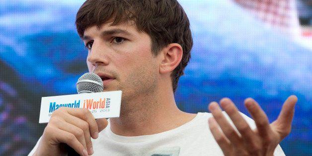 "In this Sunday, Aug 25, 2013 photo, American actor Ashton Kutcher, who portrays Apple's Steve Jobs in the film ""Jobs,"" speaks"