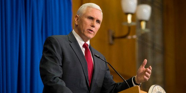 INDIANAPOLIS, IN - MARCH 31: Indiana Gov. Mike Pence speaks during a press conference March 31, 2015 at the Indiana State Lib