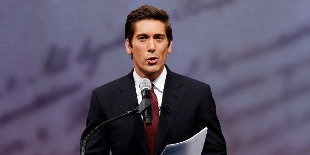 ABC News anchor David Muir speaks before retired boxing champion Muhammad Ali received the Liberty Medal during a ceremony at