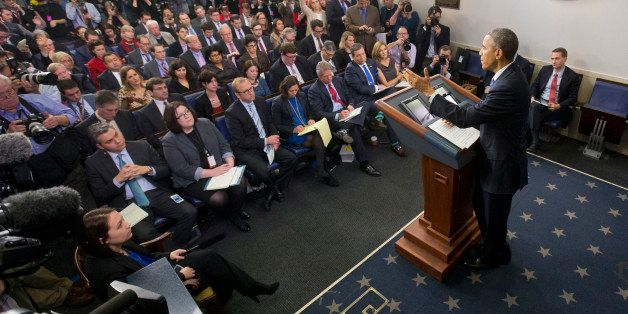 President Barack Obama speaks during a news conference in the Brady Press Briefing Room of the White House in Washington, Fri