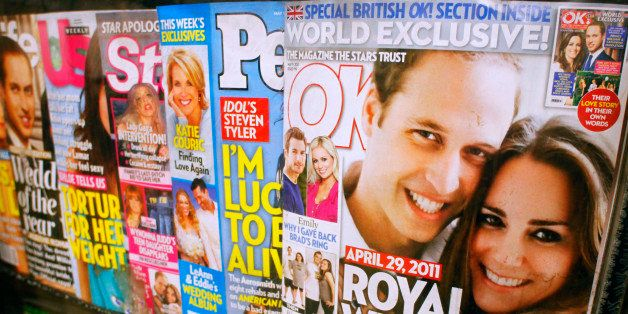 OK!, right, featuring the wedding of Prince William and Kate Middleton, and other celebrity magazines are displayed at a New