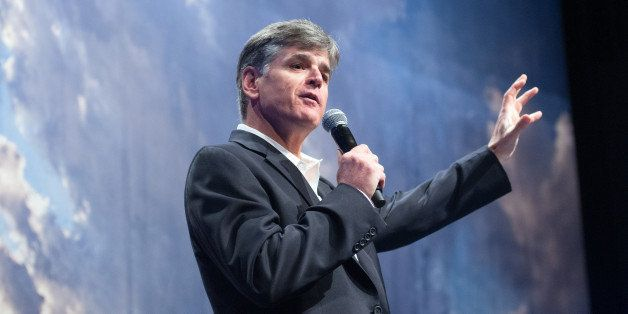 "Political commentator Sean Hannity addresses the crowd while delivering his speech, ""Get America Back to Work"", Thursday, May"
