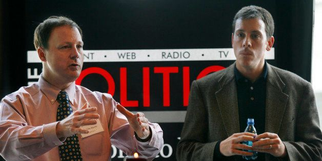 John Harris, left, editor in chief of The Politico, and Jim VandeHei, executive editor of The Politico, speak to advertisers
