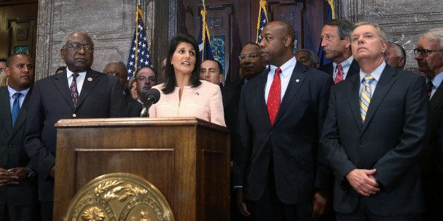 COLUMBIA, SC - JUNE 22:  South Carolina Gov. Nikki Haley along with Sen. Lindsey Graham (R-SC) (R) and other  lawmakers and a