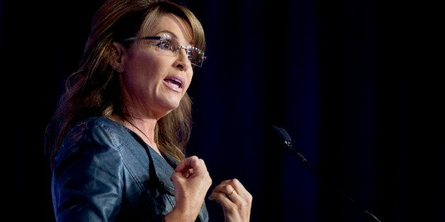 Former Alaska Gov. Sarah Palin speaks at the 2014 Values Voter Summit in Washington, Friday, Sept. 26, 2014. Prospective Republican presidential candidates are promoting religious liberty at home and abroad at a gathering of evangelical conservatives, rebuking an unpopular President Barack Obama while skirting divisive social issues that have tripped up the GOP. (AP Photo/Manuel Balce Ceneta)