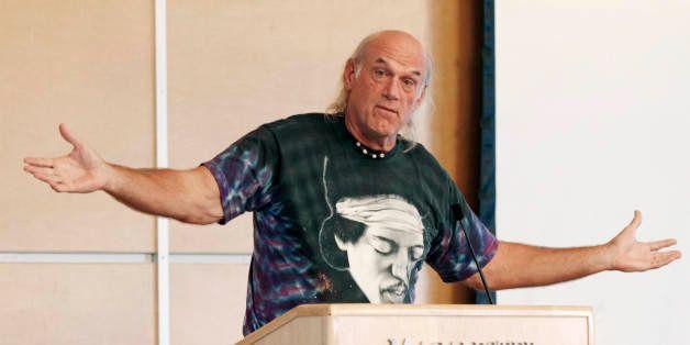 Former Minnesota Gov. Jessie Ventura, wearing a shirt featuring guitarist Jimi Hendrix, speaks at Macalester College Friday,