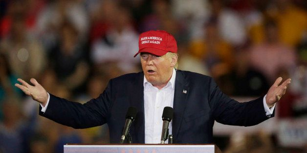 FILE - In this Aug. 21, 2015 file photo, Republican presidential candidate businessman Donald Trump speaks during a campaign