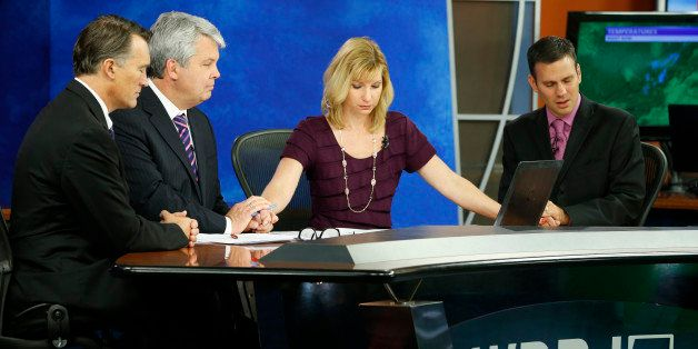 WDBJ-TV7 news morning anchor Kimberly McBroom, second from right, and meteorologist Leo Hirsbrunner, right, are joined by vis