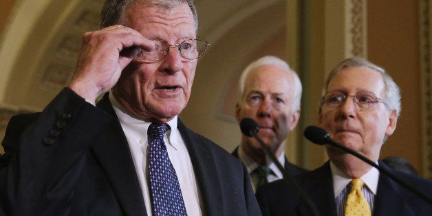 WASHINGTON, DC - JULY 21:  Senate Environment and Public Works Chairman James Inhofe (R-OK) talks with reporters  about a pro