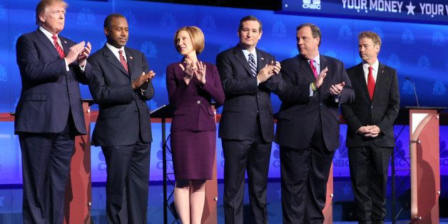 CNBC EVENTS -- The Republican Presidential Debate: Your Money, Your Vote -- Pictured: (l-r) Donald Trump, Ben Carson, Carly F