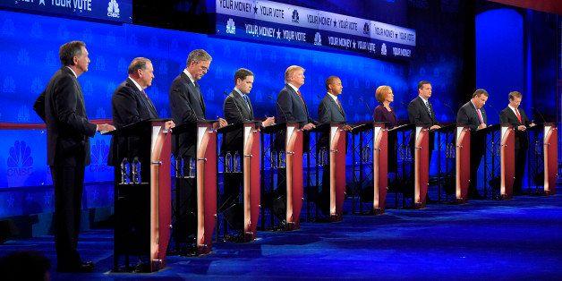 Republican presidential candidates, from left, John Kasich, Mike Huckabee, Jeb Bush, Marco Rubio, Donald Trump, Ben Carson, C