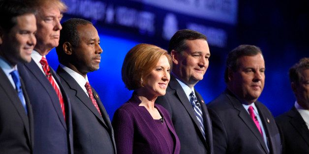 Republican presidential candidates, from left, Marco Rubio, Donald Trump, Ben Carson, Carly Fiorina, Ted Cruz, and Chris Chri