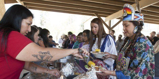People are served native dishes at the annual traditional agave roast at the Malki Museum on the Morongo Indian Reservation n