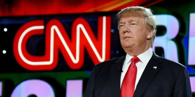 LAS VEGAS, NV - DECEMBER 15:  Republican presidential candidate Donald Trump is introduced during the CNN presidential debate