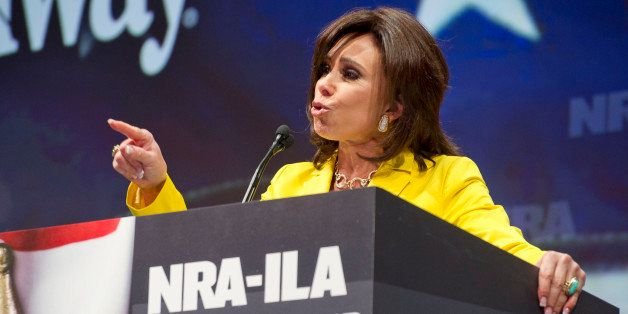 TV personality Jeanine Pirro speaks during the leadership forum at the National Rifle Association's annual convention Friday,