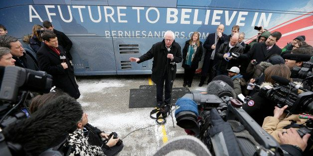 Democratic presidential candidate, Sen. Bernie Sanders, I-Vt., speaks during a news conference after a stop at the United Ste