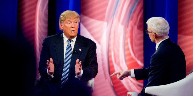 Republican presidential candidate Donald Trump speaks with Anderson Cooper at a CNN town hall at the University of South Caro