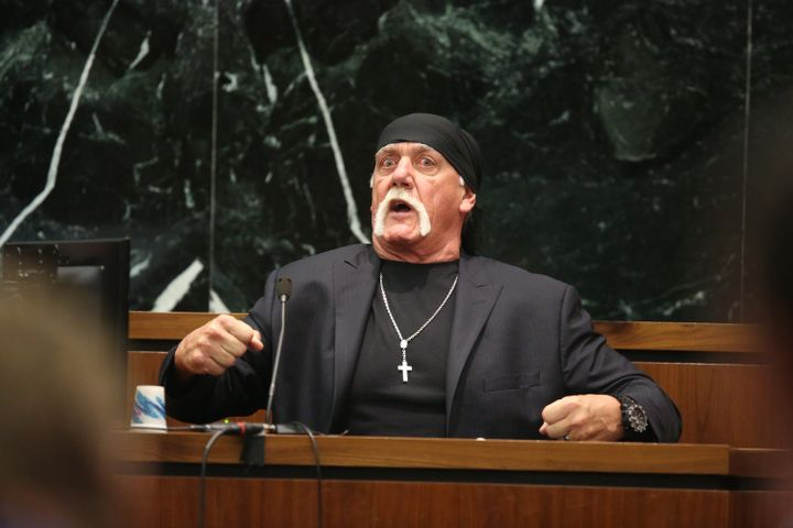 ST PETERSBURG, FL - MARCH 08:  NY POST OUT  Terry Bollea, aka Hulk Hogan, testifies in court during his trial against Gawker