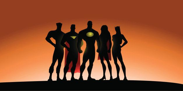 An illustration of a team of superheroes in silhouette. Characters are grouped on their own for ease of editing. :)