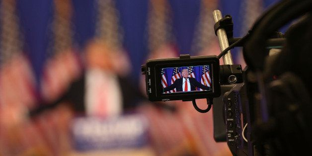 JUPITER, FL - MARCH 08:  Republican presidential candidate Donald Trump is seen in a television cameras view finder during a
