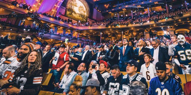Apr 28, 2016; Chicago, IL, USA; A general view of football fans in the stands during the first round of the 2016 NFL Draft at