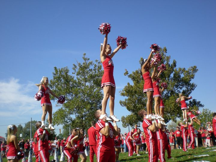 COLUMBUS, OHIO - SEPTEMBER 18: The Ohio State cheerleaders entertain the crowd before their game against the OU Bobcats on Se