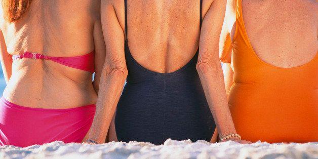 Senior Women in Bathing Suits at Beach