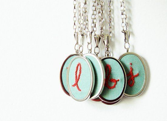 "Embroidered Initial Necklace | $32 | <a href=""http://www.etsy.com/listing/80221344/embroidered-necklace-custom-initial"" targe"