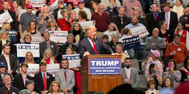 Mississippi, United States - January 2, 2016: Donald Trump speaking to the crowd at a campaign rally at the Mississippi Colis
