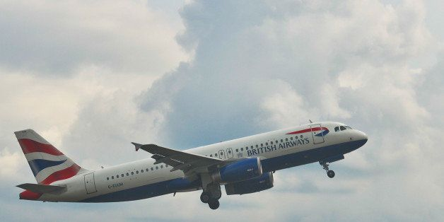 A view of British Airways plane, the flag carrier and the largest airline in the United Kingdom, takin off from its main hub