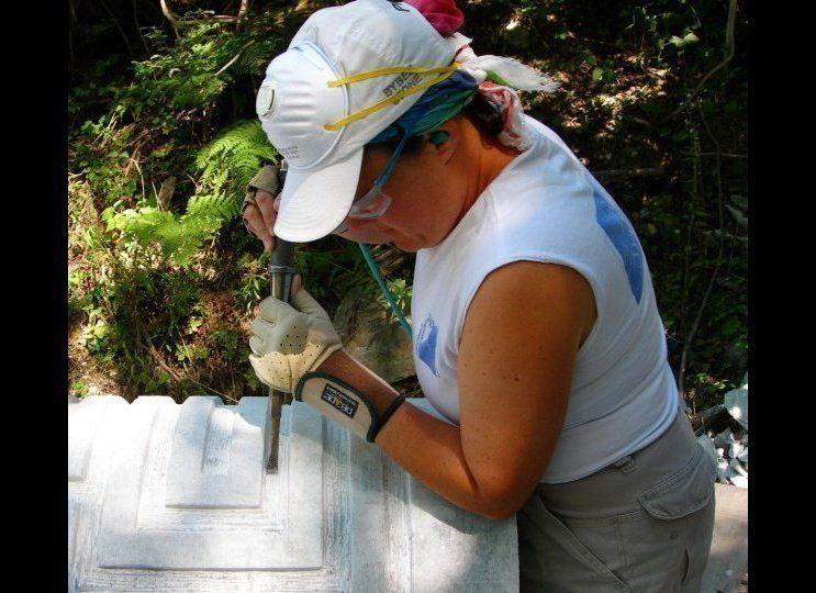 "Amy Brier, Sculptor , 51, carving at the Limestone Symposium in Bloomington, Indiana <a href=""http://www.amybrier.com"" target"