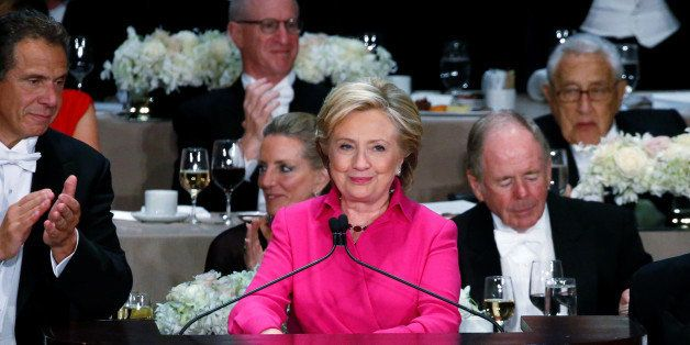 Democratic U.S. presidential nominee Hillary Clinton delivers remarks at the Alfred E. Smith Memorial Foundation dinner in Ne