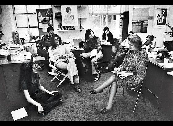 Ms. staff meeting in June 1972. From left: Letty Cottin Pogrebin, Gloria Steinem, Margaret Sloan-Hunter, Suzanne Levine, Mary